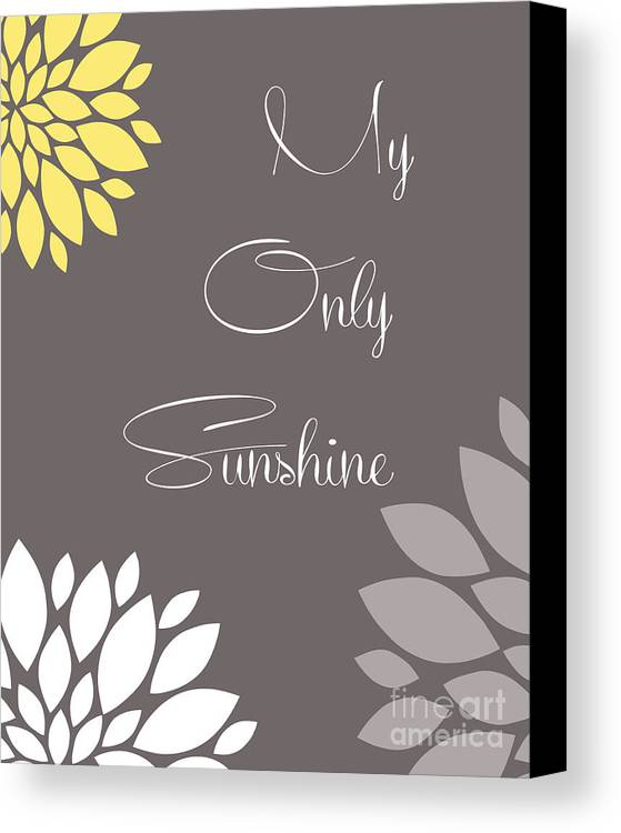My Canvas Print featuring the digital art My Only Sunshine Peony Flowers by Voros Edit