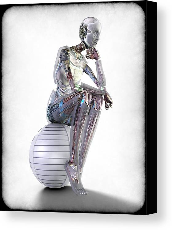Robot Canvas Print featuring the digital art The Thinking Machine by Frederico Borges