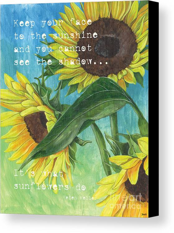 Flowers Canvas Print featuring the painting Vince's Sunflowers 1 by Debbie DeWitt