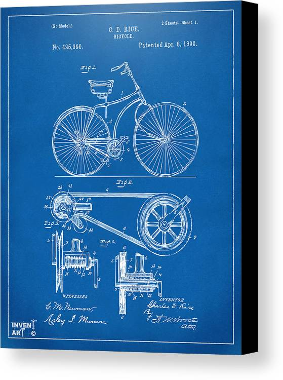 1890 bicycle patent artwork blueprint canvas print canvas art by velocipede canvas print featuring the digital art 1890 bicycle patent artwork blueprint by nikki marie malvernweather Images