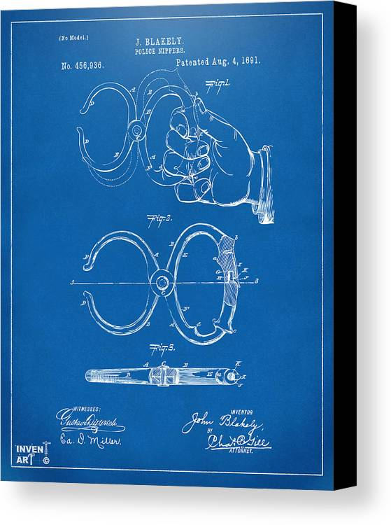 Police Canvas Print featuring the drawing 1891 Police Nippers Handcuffs Patent Artwork - Blueprint by Nikki Marie Smith