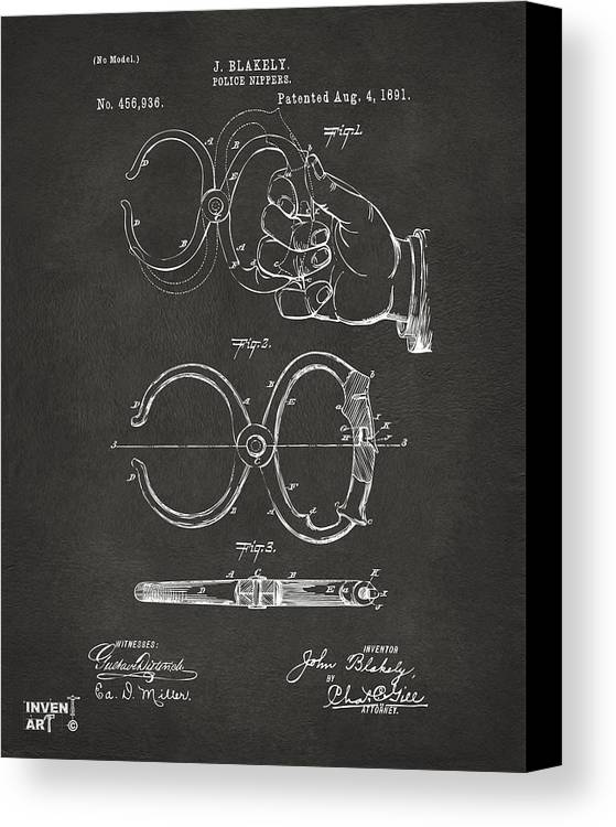 Police Canvas Print featuring the digital art 1891 Police Nippers Handcuffs Patent Artwork - Gray by Nikki Marie Smith