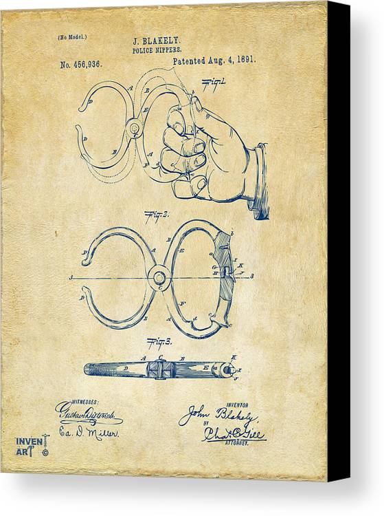 Police Canvas Print featuring the digital art 1891 Police Nippers Handcuffs Patent Artwork - Vintage by Nikki Marie Smith
