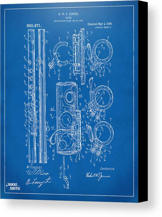 1909 flute patent blueprint canvas print canvas art by nikki flute canvas print featuring the digital art 1909 flute patent blueprint by nikki marie smith malvernweather Images