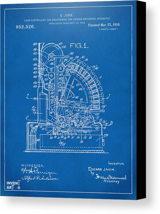 1910 cash register patent blueprint canvas print canvas art by cash register canvas print featuring the digital art 1910 cash register patent blueprint by nikki marie malvernweather Image collections