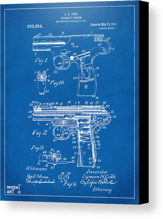 Police Gun Canvas Print featuring the drawing 1911 Automatic Firearm Patent Artwork - Blueprint by Nikki Marie Smith
