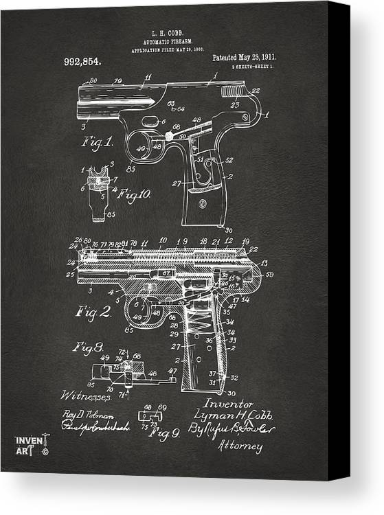 Police Gun Canvas Print featuring the drawing 1911 Automatic Firearm Patent Artwork - Gray by Nikki Marie Smith