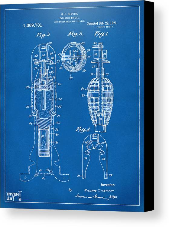 Explosive Missle Canvas Print featuring the drawing 1921 Explosive Missle Patent Blueprint by Nikki Marie Smith