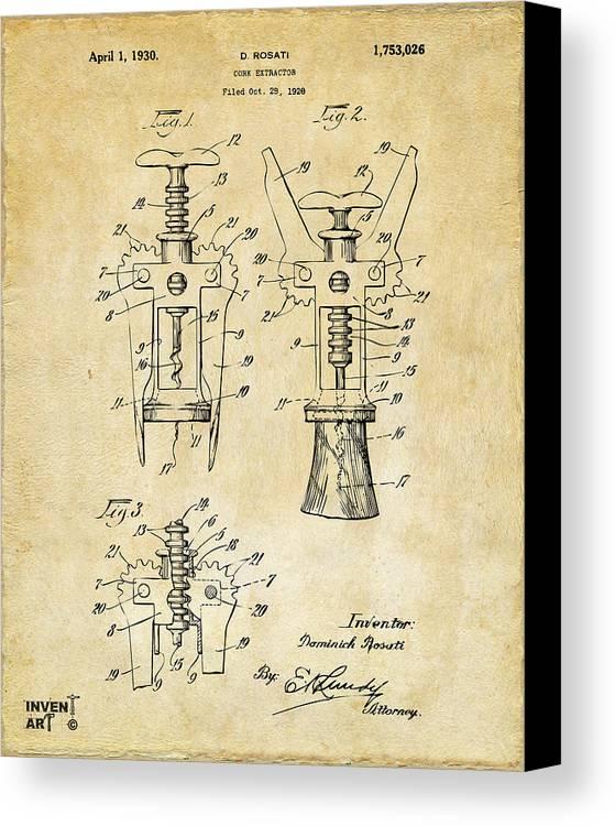 Corkscrew Canvas Print featuring the digital art 1928 Cork Extractor Patent Art - Vintage Black by Nikki Marie Smith