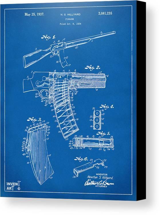 Police Gun Canvas Print featuring the digital art 1937 Police Remington Model 8 Magazine Patent Artwork - Blueprin by Nikki Marie Smith