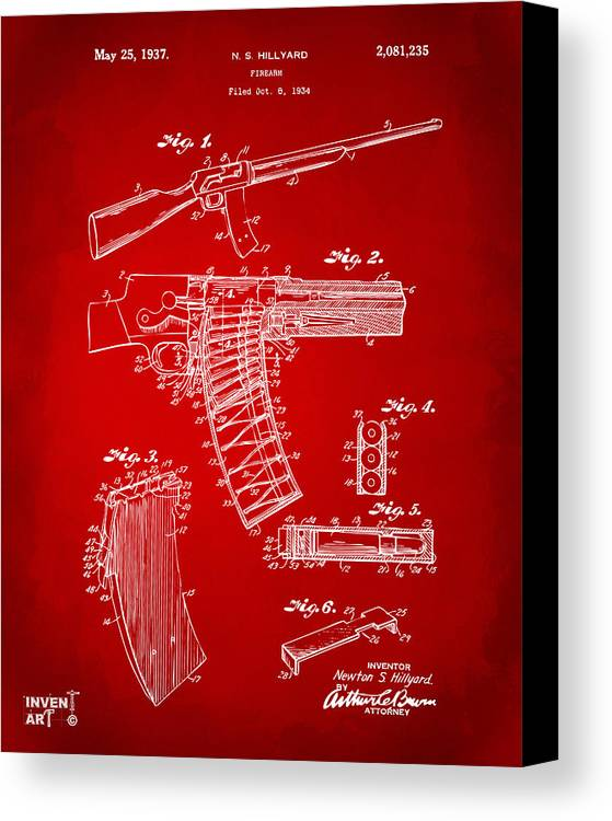 Police Gun Canvas Print featuring the digital art 1937 Police Remington Model 8 Magazine Patent Artwork - Red by Nikki Marie Smith
