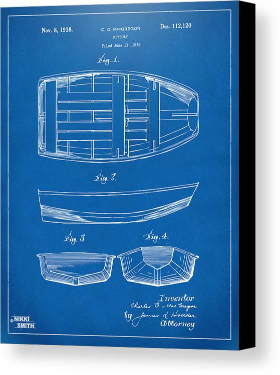 Rowboat Canvas Print featuring the digital art 1938 Rowboat Patent Artwork - Blueprint by Nikki Marie Smith