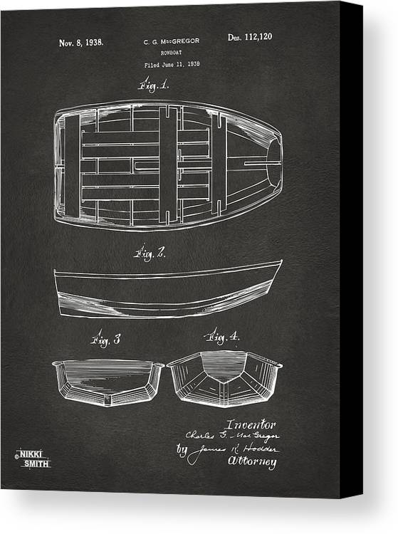 Rowboat Canvas Print featuring the drawing 1938 Rowboat Patent Artwork - Gray by Nikki Marie Smith