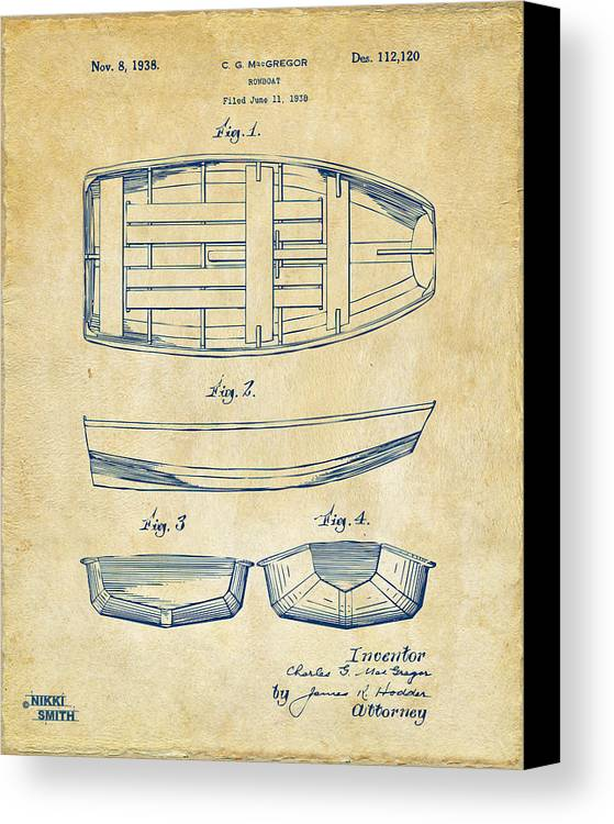 Rowboat Canvas Print featuring the drawing 1938 Rowboat Patent Artwork - Vintage by Nikki Marie Smith