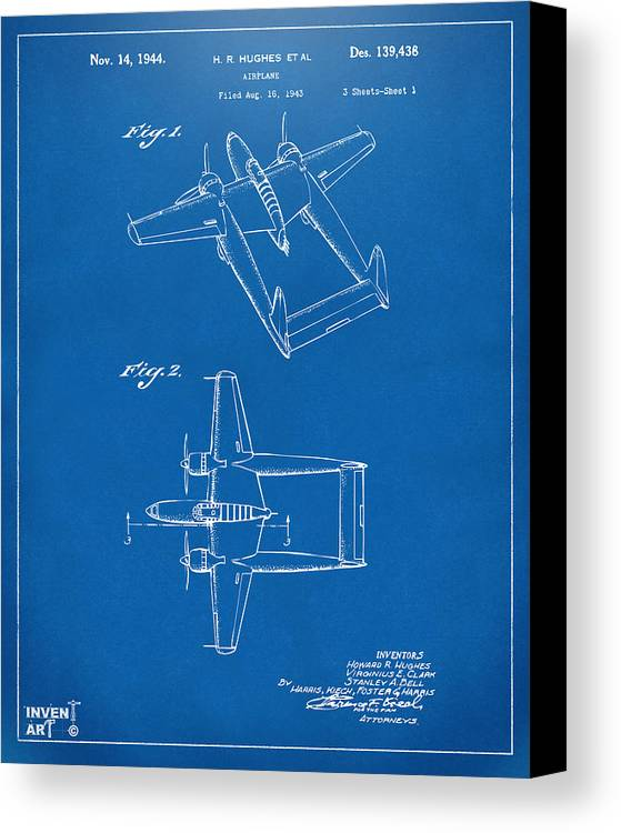 1944 howard hughes airplane patent artwork blueprint canvas print howard hughes canvas print featuring the digital art 1944 howard hughes airplane patent artwork blueprint by malvernweather Images