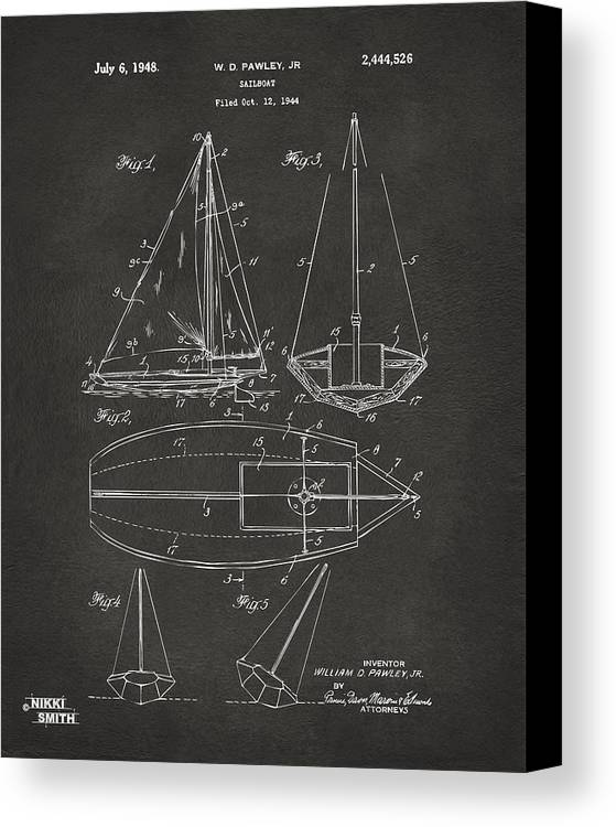 Rowboat Canvas Print featuring the digital art 1948 Sailboat Patent Artwork - Gray by Nikki Marie Smith