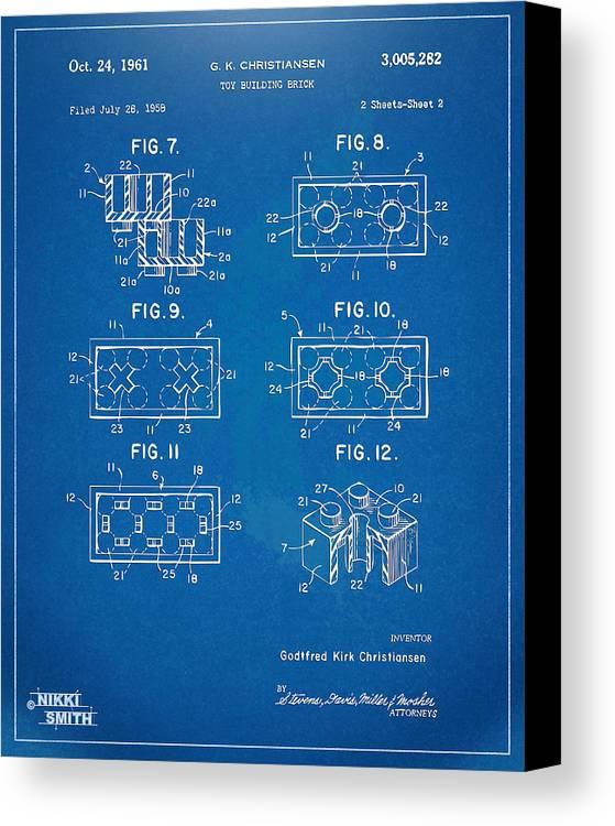 1961 lego brick patent artwork blueprint canvas print canvas art toy canvas print featuring the digital art 1961 lego brick patent artwork blueprint by nikki malvernweather Choice Image