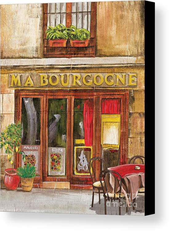 Restaurant Canvas Print featuring the painting French Storefront 1 by Debbie DeWitt