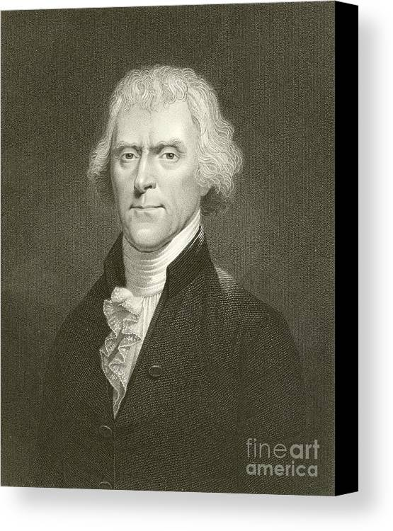 Thomas Jefferson Canvas Print featuring the drawing Thomas Jefferson by English School