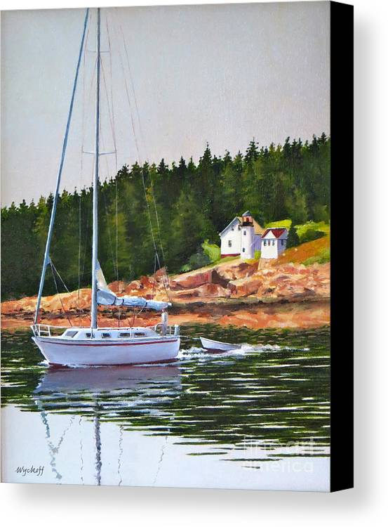 Sailboat Canvas Print featuring the painting Bass Harbor Light by Karol Wyckoff