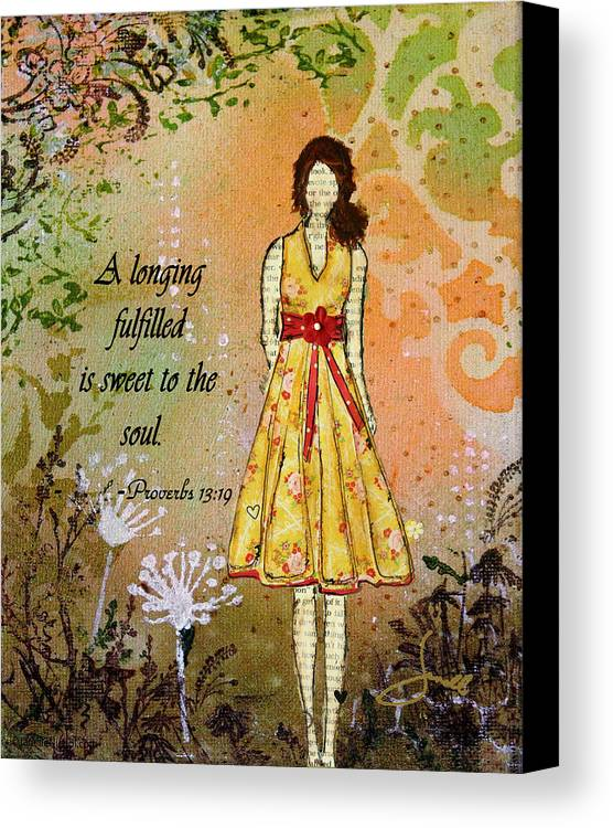 Unique Canvas Print featuring the mixed media A Longing Fulfilled by Janelle Nichol