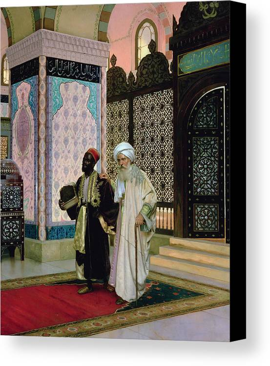 Middle Canvas Print featuring the painting After Prayers At The Mosque by Rudolphe Ernst