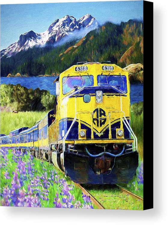 Railroad Canvas Print featuring the painting Alaska Railroad by David Wagner