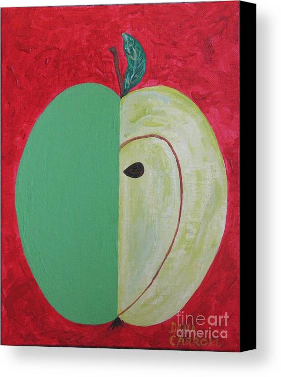 Apple Paintings Canvas Print featuring the painting Apple In Two Greens 02 by Dana Carroll