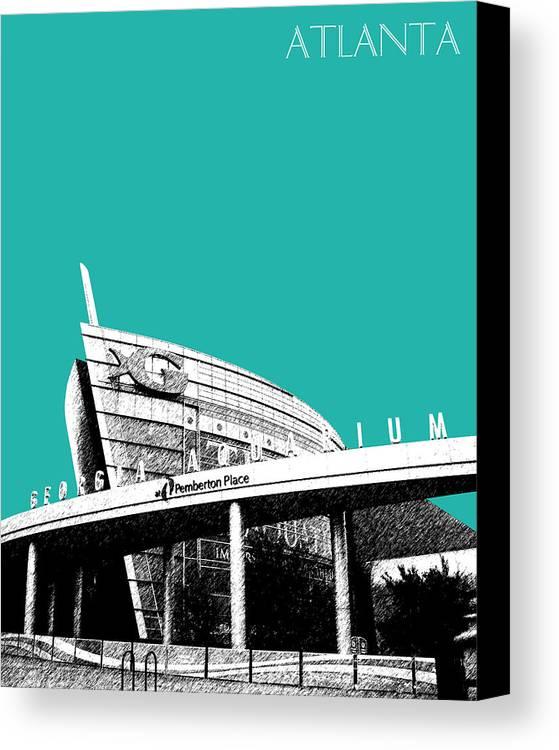 Architecture Canvas Print featuring the digital art Atlanta Georgia Aquarium - Teal Green by DB Artist
