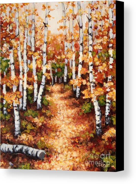 Birch Painting Canvas Print featuring the painting Autumn Birch Trail by Inese Poga