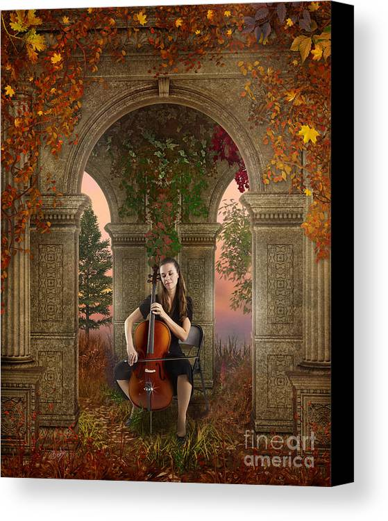Autumn Canvas Print featuring the digital art Autumn Melody by Bedros Awak