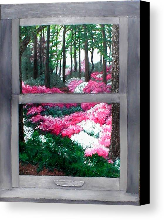Window Canvas Print featuring the painting Azalea Bowl Overlook Gardens by Beth Parrish