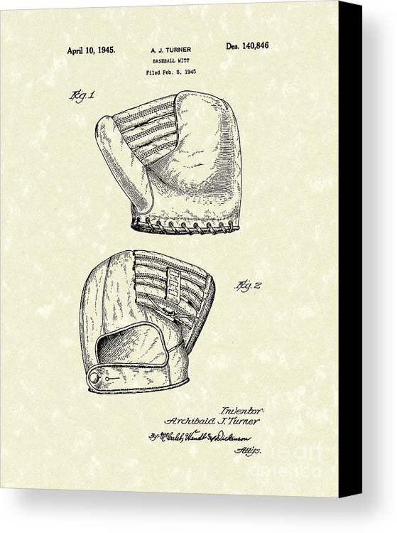 Turner Canvas Print featuring the drawing Baseball Mitt 1945 Patent Art by Prior Art Design