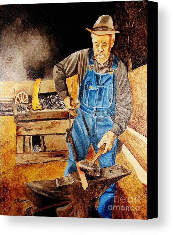 Blacksmith Canvas Print featuring the painting Blacksmith by John Ahrens