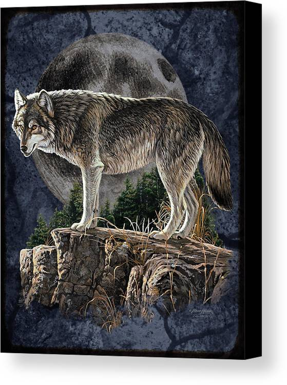 Bruce Miller Canvas Print featuring the painting Bm Wolf Moon by JQ Licensing