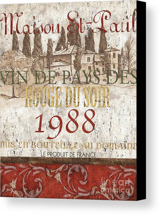 Wine Canvas Print featuring the painting Bordeaux Blanc Label 1 by Debbie DeWitt