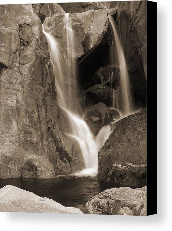 Waterfall Canvas Print featuring the photograph Bridalveil Falls In Yosemite Sepia Version by Greg Matchick