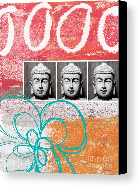 Abstract Canvas Print featuring the painting Buddha With Flower by Linda Woods