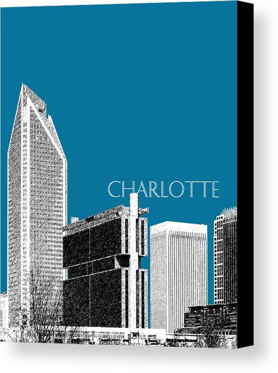 Architecture Canvas Print featuring the digital art Charlotte Skyline 1 - Steel by DB Artist