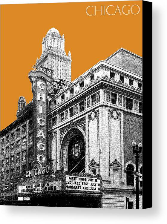 Architecture Canvas Print featuring the digital art Chicago Theater - Dark Orange by DB Artist