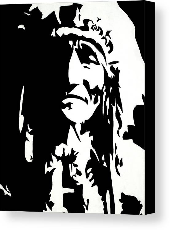 Black And White Canvas Print featuring the painting Chief Half In Darkness by HJHunt