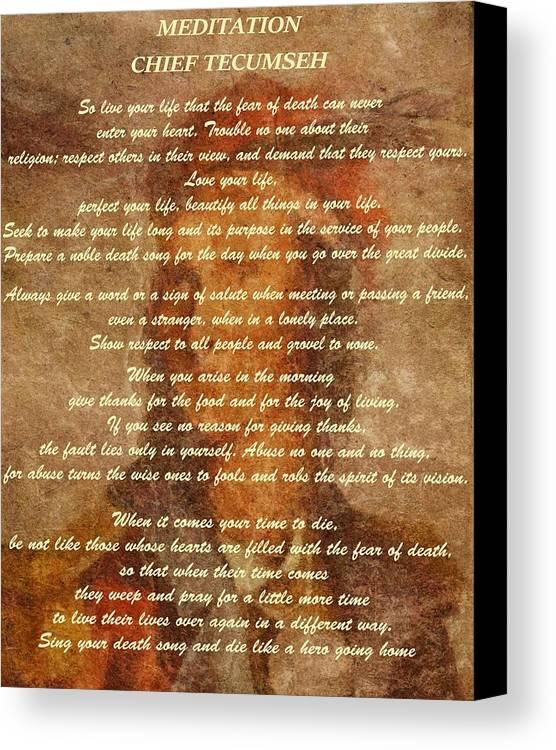 chief tecumseh poem canvas print canvas art by dan sproul