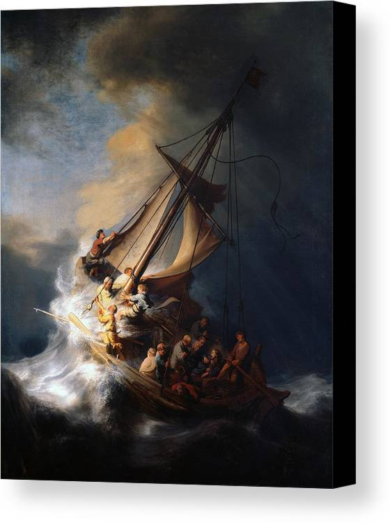 Christ in the storm on the sea of galilee canvas print canvas art 1633 canvas print featuring the painting christ in the storm on the sea of galilee by publicscrutiny