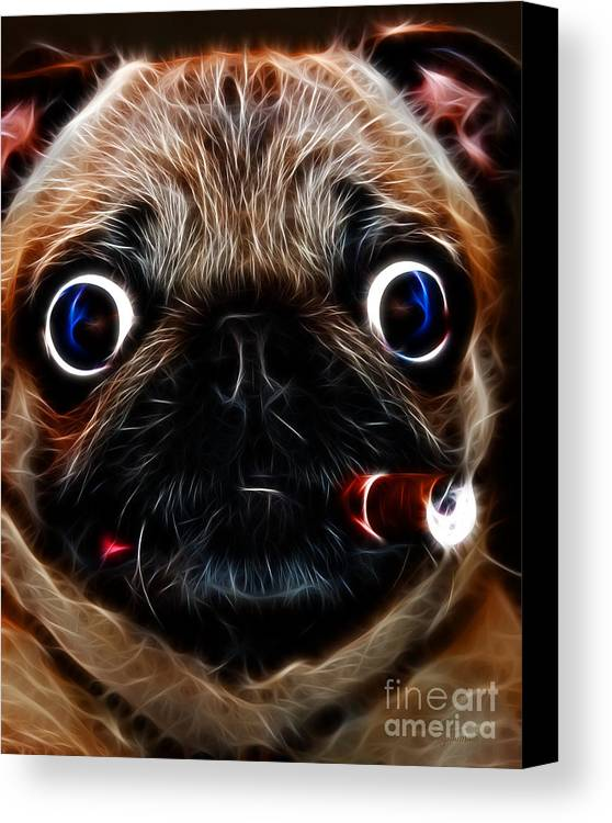 Animal Canvas Print featuring the photograph Cigar Puffing Pug - Electric Art by Wingsdomain Art and Photography