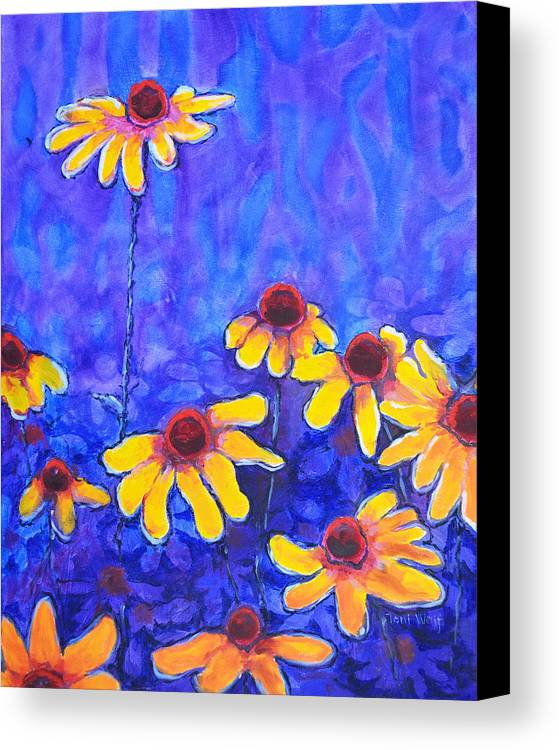 Toni Wolf Canvas Print featuring the painting Cone Flowers by Toni Wolf