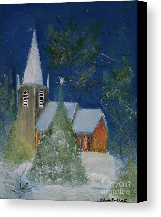 Christmas Holiday Scenery Canvas Print featuring the painting Crisp Holiday Night by Louise Burkhardt
