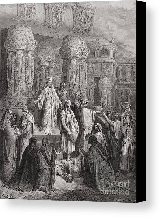 King Of The Persians Canvas Print featuring the painting Cyrus Restoring The Vessels Of The Temple by Gustave Dore
