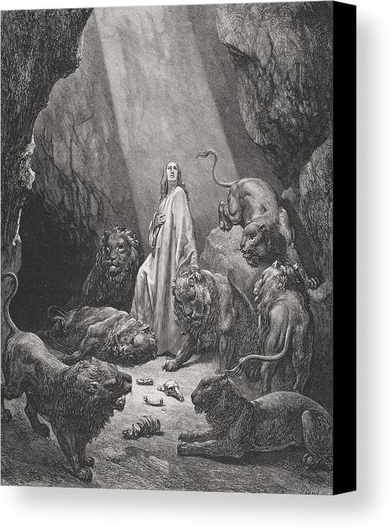 Lion Canvas Print featuring the painting Daniel In The Den Of Lions by Gustave Dore