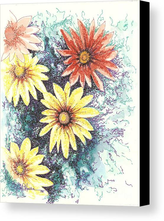 Daisies Canvas Print featuring the mixed media Dazzeled by Brian Edward Harris