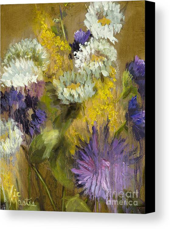 Flower Canvas Print featuring the painting Delicate Aroma I -unframed-with Gold Leaf By Vic Mastis by Vic Mastis